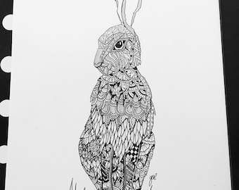 A4 Hare woodland animal series Zentangle inspired art Print
