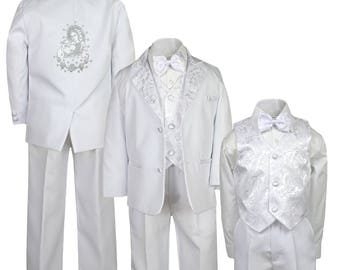 New Boys WHITE Christening 1st Communion 5 pieces Suit Tuxedo BY021 Virgin Mary Pope