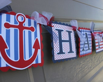 Nautical Themed Party - Anchor - Nautical Happy Birthday Banner - Nautical Boy Birthday  - Navy - Red - White