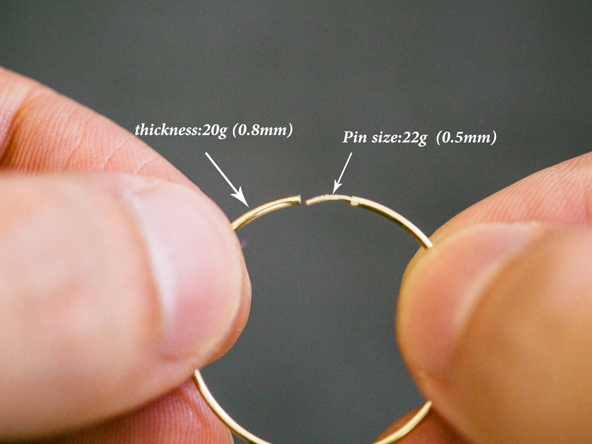 14K Solid Gold 20g Guage Round Open Wire Toe Ring Supplies Tragus ...
