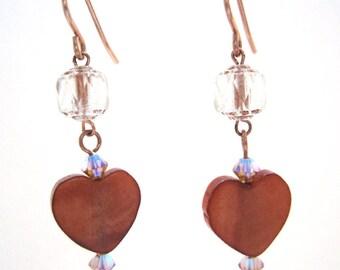 Heart Drop Earrings, Mother of Pearl Dangling Heart Earrings, Copper Brown Heart Dangle Earrings, Heart Jewelry