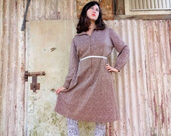 Vintage Clothing. Vintage Dress. 60s Dress. Brown Textured Vintage Dress For Women 1960s. 1960 dress.Womens Dress.Womens Gift. Free Shipping