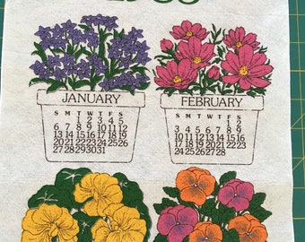 Vintage 1985 Felt Calendar Wall Hanging With Colorful Flower Pots for Every Month - 1985 Wall Hanging