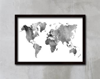 Gift for men, World Map Art, Watercolor World Map, Travel Map Poster, Wall Art Map, Home Decor, Office Gift, APIRO PRINTS