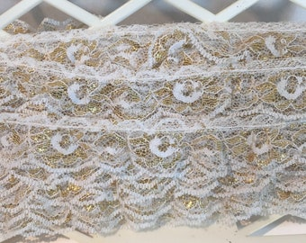 "Over 10 Yards 1"" Vintage White Gold Gathered Ruffled Lace Trim Christmas Bridal"