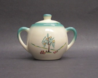Vintage Turquoise and White Weeping Willow Sugar Bowl with Lid (E9756)