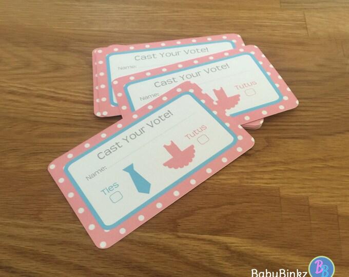 Voting Cards - Ties or Tutus Gender Reveal Party Baby Shower Die Cut Ties or Tutus  Pink Girl Ballet Tutus & Blue Boy Ties vote game