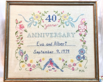 Vintage Framed Embroidery with Love Birds and Flowers. 40th Anniversary. Eva and Albert.