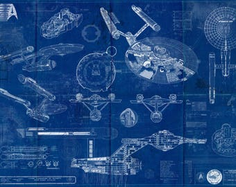 Star trek enterprise uss 1701 d blueprint art print star trek enterprise uss 1701 blueprint art print original tv series enterprise malvernweather Choice Image