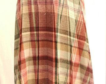 1960's Vintage - Coral Ann Moss - Wool Plaid Pleated Skirt - Medium