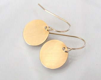 14K Gold Earrings Small Gold Disc Circle Drop, Dangle Earrings in Yellow or White Gold, Tiny Baubles