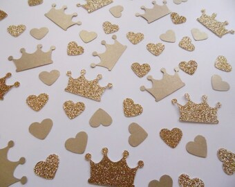 Princess Crown Confetti, Gold Heart Confetti, Party Decorations, Birthday Party Decor, Table Scatter