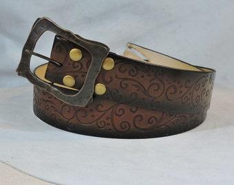 Customizable 2.25 Inch, Extra Large Swirl Design Leather Kilt or Pirate Belt