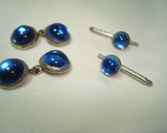 Vintage Blue Cabochon Styled Silver Tone Cufflinks and Shirt Studs.