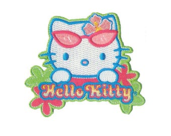 Hello Kitty Iron On Applique, Hello Kitty Iron On Patch, Beach Patch, Summer Patch, Hello Kitty Applique, Kids Patch, Embroidered Patch