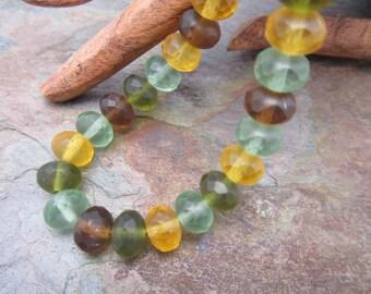 Frosty Fall Matte 6x8mm Rondelle Czech Glass Beads