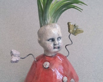 Air Plant in a Red Dress, air plant vase, ceramic vase, baby doll air plant vase