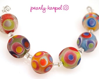 Pearly Lampwork  6 18 mm etched round beads with colorful dots Lampwork beads SRA made to order, jewelry supplies, handmade lampwork, beads