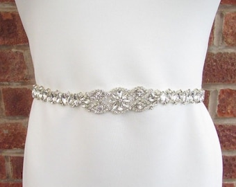 Silver Diamante Bridal Wedding Dress Belt Bridesmaid Sash Vintage Art Deco 5584