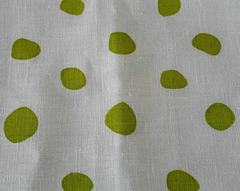 Fun Dotty tea towel hand printed on ecru linen.  A great gift idea and would look great in all styles of kitchens. Available in this bright