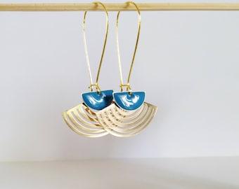 Golden fan and teal enamel half moon earrings