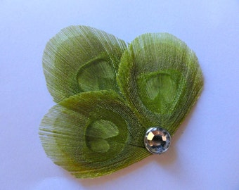 READY to Ship - Petite Hair Clip Collection - Lime Green Peacock Feather Hair Clips