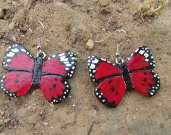 """Butterflies"" earrings made of cold porcelain and metal"