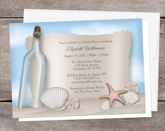 Beach Bridal Shower Invitations - Message from a Bottle design with Seashells and Sand - Beach Shower Invites - Printed Beach Invitations