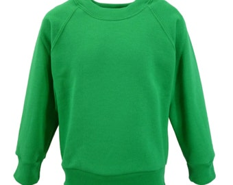 Emerald Green Sweatshirt, cotton/polyester, raglan sleeves, soft brushed inside for warmth and comfort. Made in England. 6 childs sizes. W10