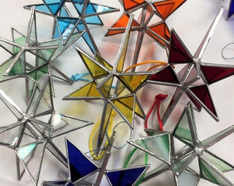 Stained Glass Moravian Star Ornament (PLG119)