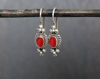 Coral Earrings, Coral and Silver, Coral Drop Earrings, Everyday Earrings, Silver Earrings, Red Earrings, Balinese Jewellery, Sterling Silver