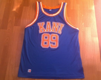 Karl Kani jersey, vintage Kani t-shirt 90s hip-hop clothing, 1990s basketball tank, hip hop shirt, OG, gangsta rap, blue sleeveless, size XL