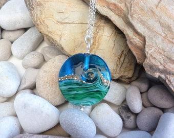 Deep Blue Sea, handmade glass bead, extra large lentil pendant, by Beach Art Glass in the UK