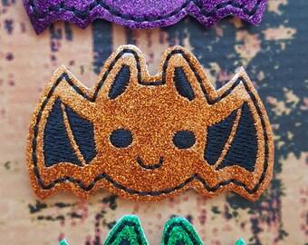 Halloween Glitter Feltie, Bats Halloween Feltie,  Pumpkin Feltie, Felt Embellishments, Felt Applique, Hair Bow Supplies