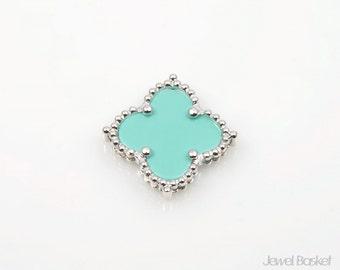 Mint Clover Pendant in Rhodium, 1piece of Mint Clover Necklace Pendant / 19mm x 19mm / SMTS050-P (1piece)
