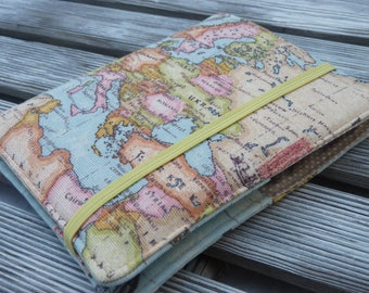 Travel organizer, Passport holder, Holder for 2 passports, Passport cover, passport wallet, Gift for Traveler - world map RANDOM AREA