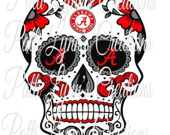 SVG SUGAR SKULL Roll Tide (ungrouped)