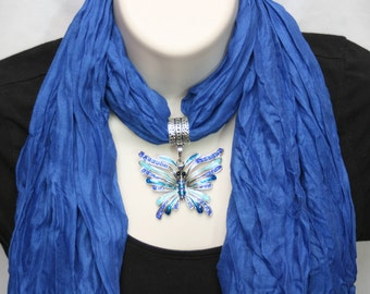 Jeweled Scarf- blue with metal butterfly pendant