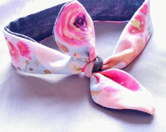 Newborn floral/charcoal gray knotted headband
