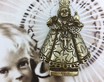 Infant Jesus of Prague Pendant Necklace in White Bronze