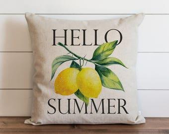 Hello Summer_Lemons 20 x 20 Pillow Cover // Everyday // Tropical  // Fruit // Gift // Accent Pillow