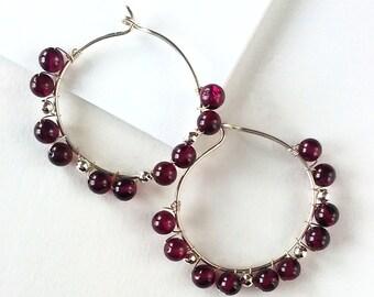 Garnet and Sterling Silver Wire-Wrapped Hoop Earrings