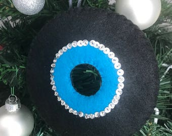 Turquoise Felt 45 Record   Oldies 50u0027s Rock N Roll Inspired Christmas  Ornament   Sequined U0026