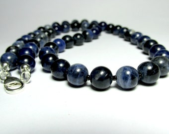 Mens Sodalite Necklace, Mens Beaded Necklace, Mens Silver Necklace, Jewelry for Men, Gift for Him, Gemstone Necklace, Necklace for Men