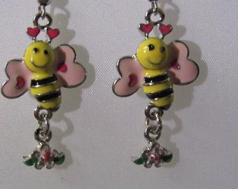Bee with A Flower Earrings