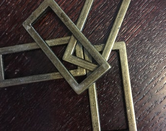 "4 pcs - Alloy Flat Rectangle Rings 1-1/2"" - Antique Brass"