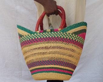 Straw handbag | shopping bag | Straw bag | Basket bag | Summer bag | Boho bag | Tote bag | Woven bag | African market bag | Gift for her