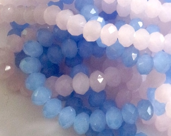 20 glass beads faceted - pink and blue - 8 x 6 mm T12