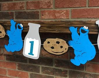 Sesame Street Cookie Monster Banner, Milk bottle banner, Sesame Street Cookie Monster Photo Prop