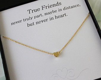 Gold Heart Necklace, Best Friend gift, Heart Necklace, Gift for her, Gold Necklace, Message Card Jewelry